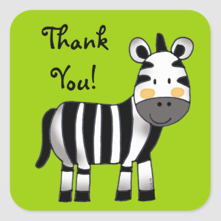 Thank you (zebra) square sticker