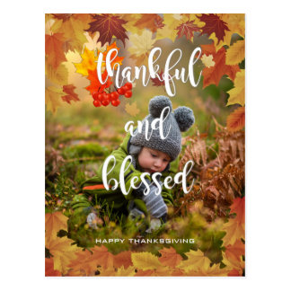 Thankful and Blessed Autumn Thanksgiving Photo Postcard