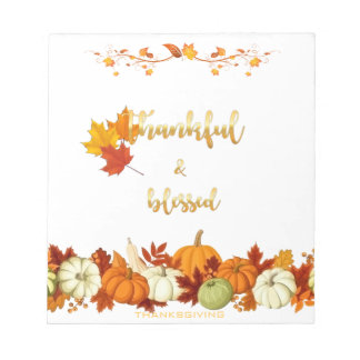 Thankful and Blessed Golden Script Thanksgiving Notepad