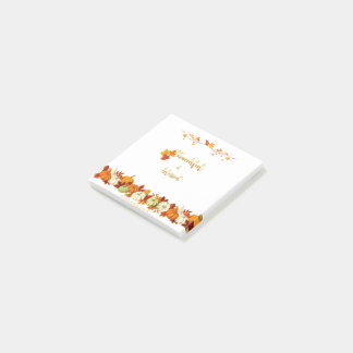 Thankful and Blessed Golden Script Thanksgiving Post-it® Notes