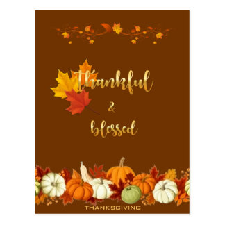 Thankful and Blessed Golden Script Thanksgiving Postcard