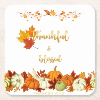 Thankful and Blessed Golden Script Thanksgiving Square Paper Coaster