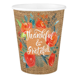 Thankful and Grateful Burlap Flowers Thanksgiving. Paper Cup