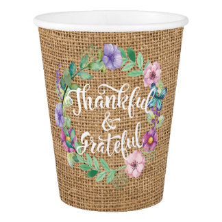 Thankful and Grateful Burlap Wreath Thanksgiving. Paper Cup