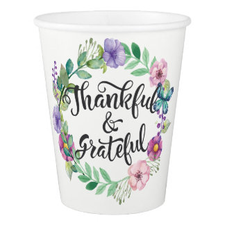 Thankful and Grateful. Happy Thanksgiving. Paper Cup