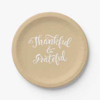 Thankful and Grateful. Happy Thanksgiving. Paper Plate