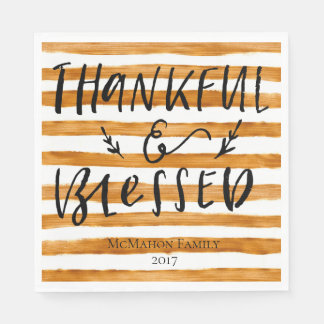 Thankful Blessed Gold - Personalized Napkin Paper Serviettes