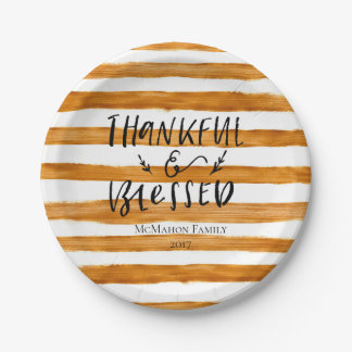 Thankful Blessed Gold - Personalized Paper Plate