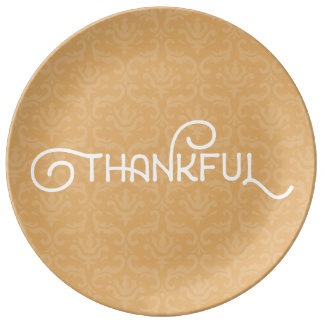 Thankful • Cute autumn damask plate Porcelain Plate