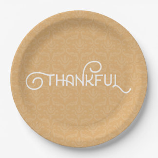 Thankful • Cute autumn damask plates
