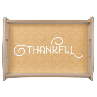 Thankful • Cute chic damask wood tray
