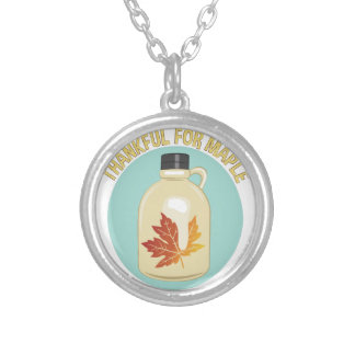 Thankful For Maple Silver Plated Necklace