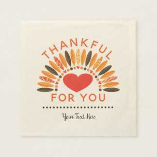THANKFUL FOR YOU - Personalized Thanksgiving Paper Napkins