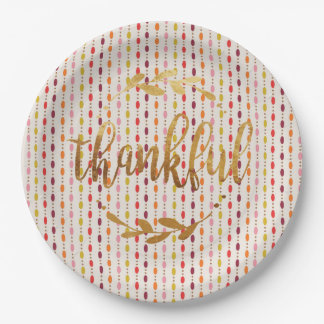 Thankful Gold Multi Oval Dots - Paper plate