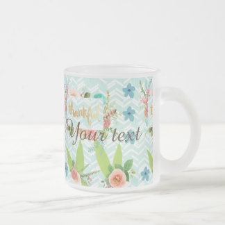 thankful,gold,typography,modern,girly,cute,floral, frosted glass mug
