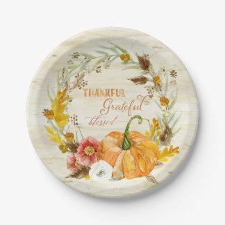 Thankful Grateful Blessed Autumn Harvest Pumpkin Paper Plate