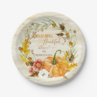 Thankful Grateful Blessed Fall Harvest Family Wood Paper Plate