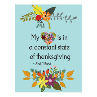 Thankful Heart Floral Inspirational Quote Postcard