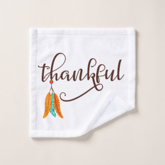 Thankful in fancy font with feathers bath towel set