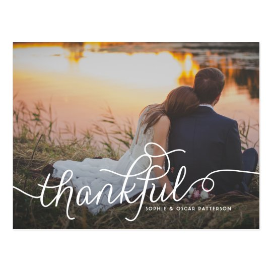 Thankful Lovely Script | Wedding Thank You Photo Postcard
