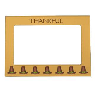 Thankful Pilgrim Puritan Hat Happy Thanksgiving Magnetic Picture Frame