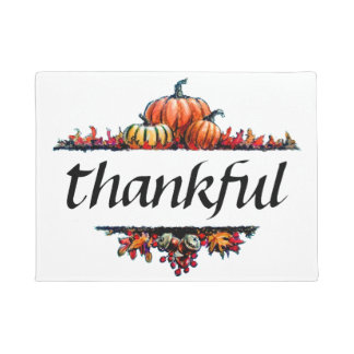 Thankful Thanksgiving Decorative Home Welcome Mat