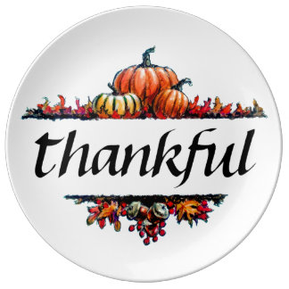 Thankful Thanksgiving Harvest Party Dinner Plates