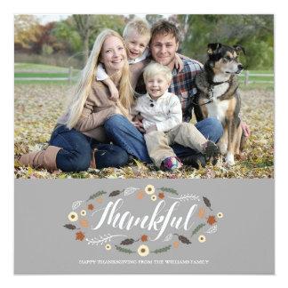 Thankful Thanksgiving Photo Card 13 Cm X 13 Cm Square Invitation Card