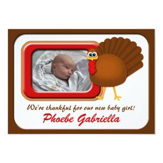 Thankful Thanksgiving Turkey Birth Announcements