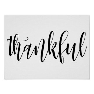 Thankful typography wall print