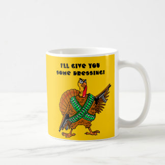 Thankgsgiving turkey with gun. coffee mug