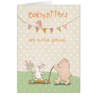 Thanks Babysitter Bear and Bunny Card