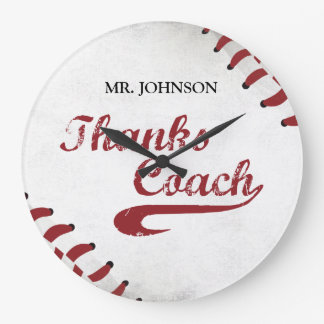 Thanks Baseball Coach Large Grunge Baseball Large Clock