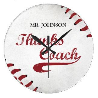 Thanks Baseball Coach Large Grunge Baseball Large Clock