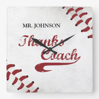 Thanks Baseball Coach Large Grunge Baseball Square Wall Clock