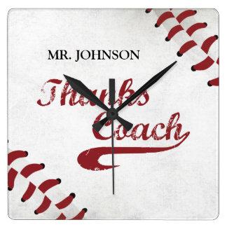 Thanks Baseball Coach Large Grunge Baseball Square Wall Clock
