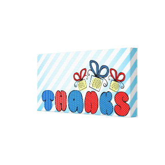 """""""Thanks"""" bold doodle sign with retro halftones Canvas Print"""