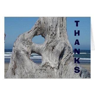 Thanks card Blue Sky Ocean Waves Coastal Driftwood
