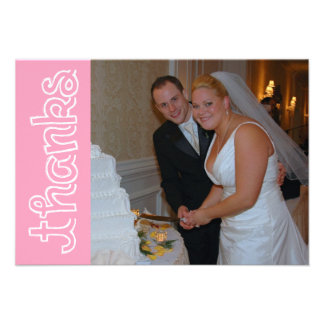 Thanks Chalk Lines Thank You Notecard (Pink) Custom Announcements