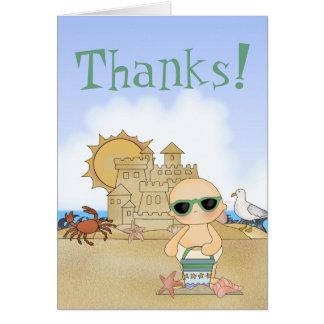Thanks! Cool Beach Baby Thank You Card ~ Neutral