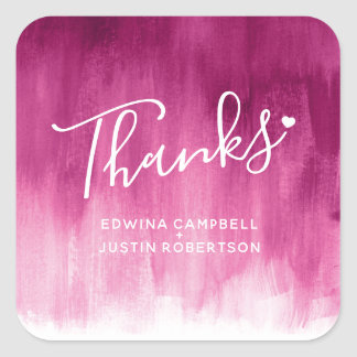 Thanks dark pink watercolor wash wedding stickers