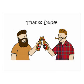 Thanks Dude Funky Hipsters Postcard