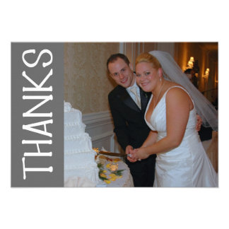 Thanks Felt Tip Thank You Notecard (Gray) Personalized Announcement