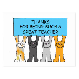 Thanks for being such a great teacher cartoon cats postcard