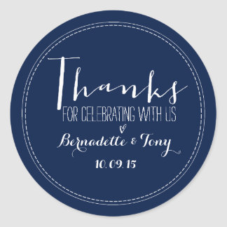 Thanks For Celebrating With Us! Wedding Thank You Round Sticker