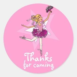 Thanks for coming ballarina girls birthday sticker
