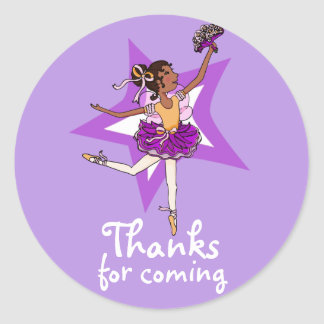 Thanks for coming ballerina girl birthday sticker