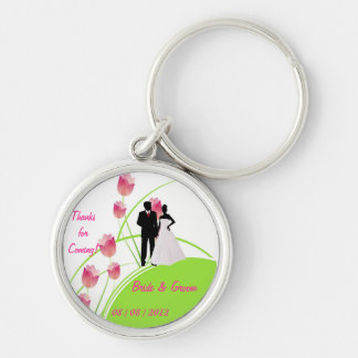 Thanks for Coming (Green and Pink) Silver-Colored Round Key Ring
