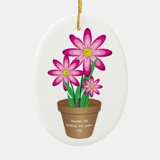 Thanks For Helping Me Grow - Happy Flower Ceramic Ornament