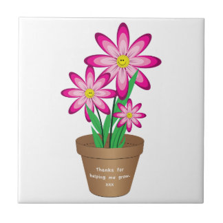 Thanks For Helping Me Grow - Happy Flower Ceramic Tile